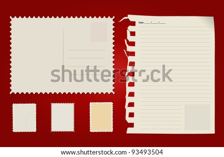 Postcard, stamp set and paper. Vector Illustration.