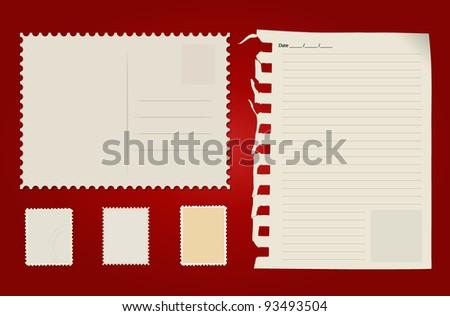 Postcard, stamp set and paper. Vector Illustration.