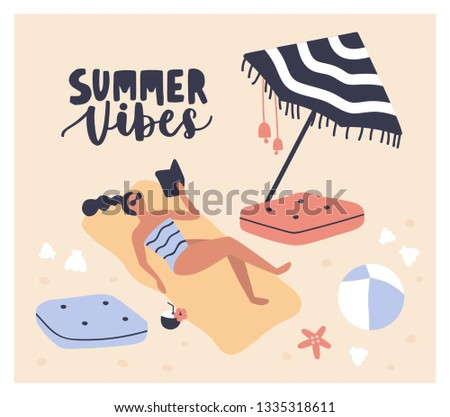 Postcard template with woman lying on beach, reading book and sunbathing and Summer Vibes phrase handwritten with cursive calligraphic font. Girl relaxing at seaside resort. Flat vector illustration.
