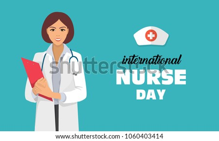 postcard to the day of a nurse May 12, banner with a female doctor and place for text