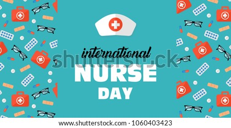 postcard to the day of a nurse May 12, banner with a medical background and space for text
