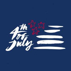 Postcard to the day of Independence of the United States. 4th of July. Handmade. Painted with a brush. 4th of July. Vector illustration.
