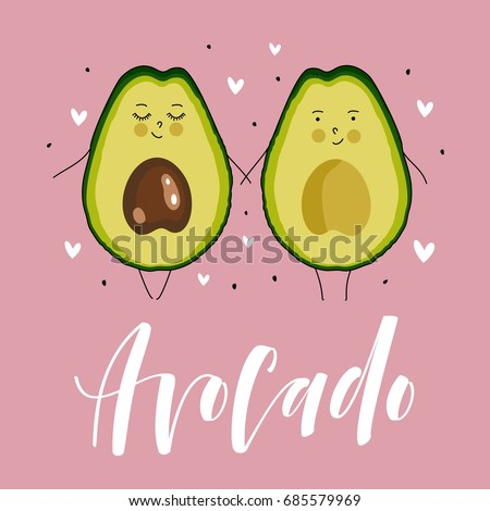 Postcard Valentine's Day. Avocado couple cartoon. Comic food. Illustration with funny characters. Love and hearts.