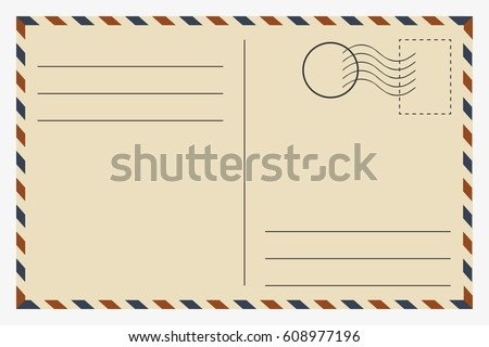 Postcard. Vintage template. Vector illustration.