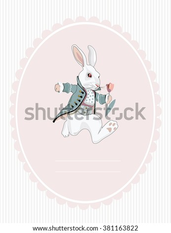 postcard white rabbit from