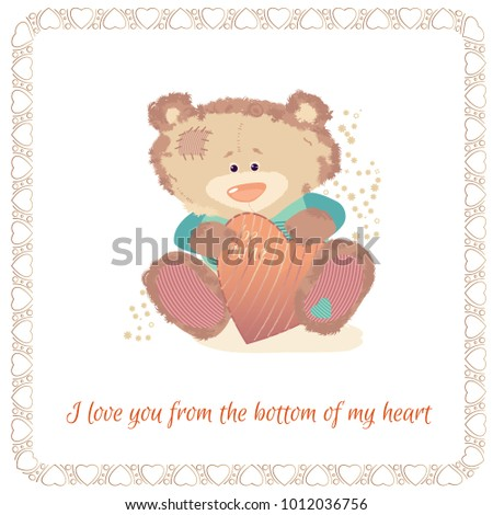 postcard with a bear cub a