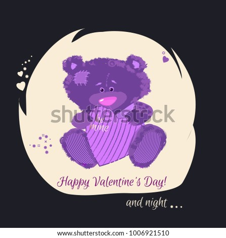 postcard with a bear cub teddy