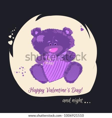 postcard with a bear cub teddy