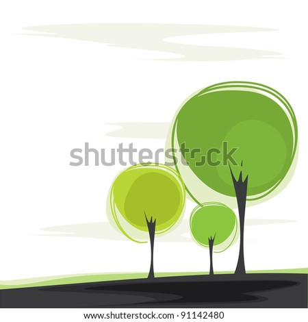 postcard with a stylized trees