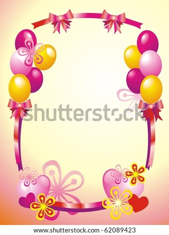 Postcard with flowers and ballons