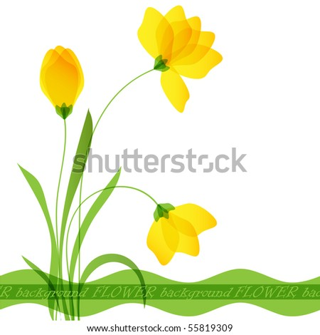 Postcard with flowers. Vector format 10 eps