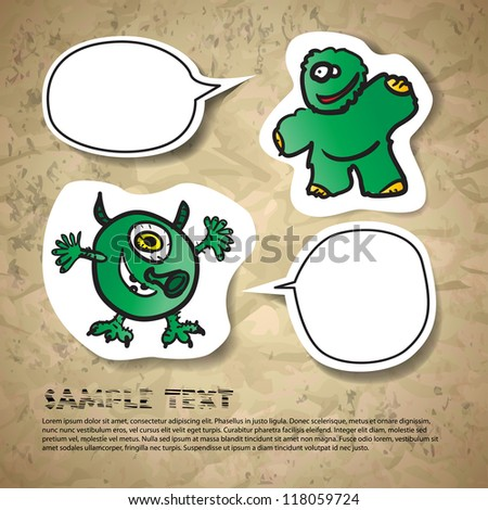 Postcard with funny green monster and speech baloons