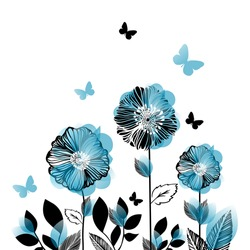 Postcard with graphic blue flowers and butterflies. Vector illustration