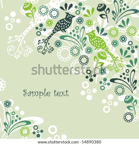 Postcard with green birds, flowers and leaves on yellow background. Vector illustration.