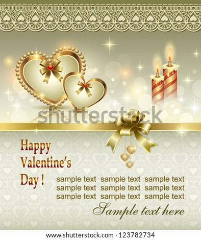 postcard with hearts and candles