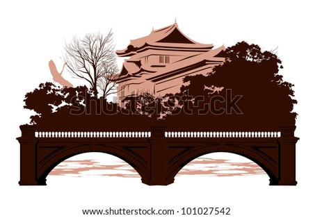 Postcard with Japanese houses and a bridge