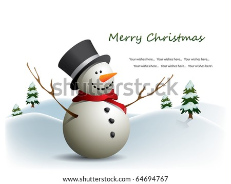Postcard with snowman