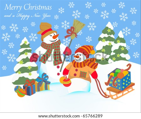 Postcard with snowmans - stock vector