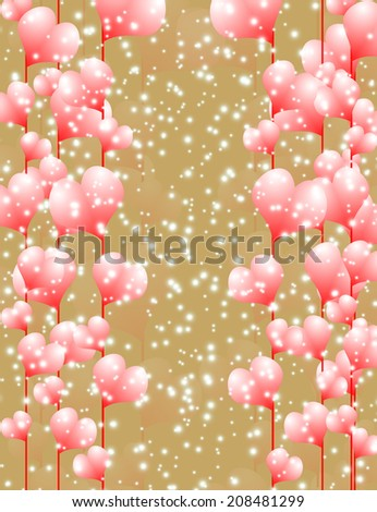 Postcard with the image of hearts, vector illustration - Shutterstock ID 208481299