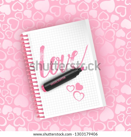 Postcard with the inscription love on Valentine s day. Calligraphy for Valentine s Day. Valentine s day greeting card, with a place for text. seamless pattern Background with hearts