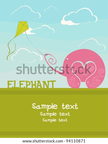postcards with the love elephant and a flying snake