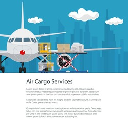 Poster Air Cargo Services and Freight, Airplane with Autoloader at the Airport on the Background of the City and Text , Unloading or Loading of Goods into the Plane , Flyer Brochure Design, Vector