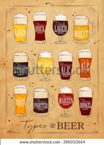 Poster beer types with main types of beer pale lager, bock, dark lager, wheat, stout, pilsner, brown ale, pale ale, cider, porter, marzen, dunkel drawing in vintage style on kraft background