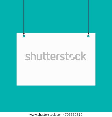 Poster binder clip. Blank white pages hanging against. Vector stock.
