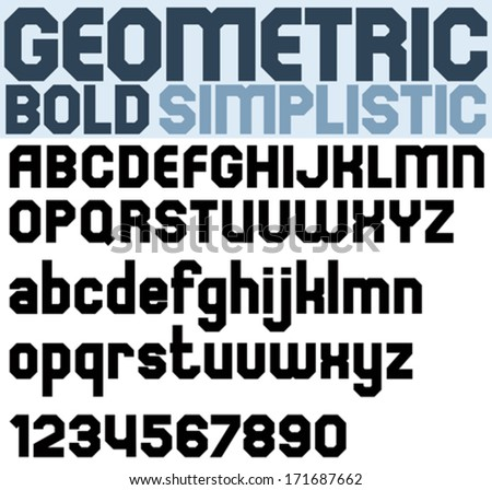 Poster black bold geometric font and numbers