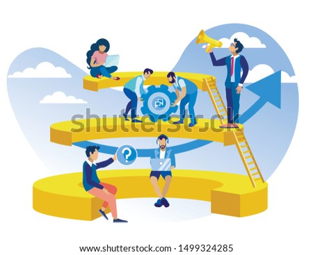 Poster Call Center Organization Structure Flat. Operator Maintains Positive View World. Team Operators Working in Office Under Leadership Head. Man with Loudspeaker Controls Employees.