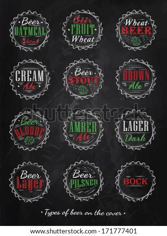 Poster collection of beer types caps in  retro style drawing with color chalk on blackboard.