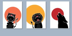 Poster collection with roar animals, tiger, lion and wolf. Modern flat poster for prints, kids greeting cards, poster, t-shirts and funny avatars. vector illustration.