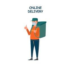 Poster concept for home delivery. Restaurant or supermarket delivering food at doorstep in quarantine. Order online food at anytime. Man with mask delivering food with big bag.