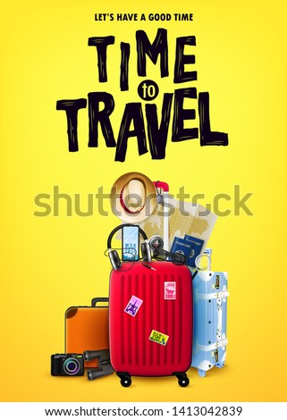 Poster Concept Tourism Front View with Red 3D Traveling Bag and Realistic Traveling Item Elements in Yellow Orange Background Design. Vector Illustration