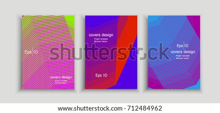 Poster covers set with modern hipster and memphis background colors. Vector templates for placards, banners. #712484962