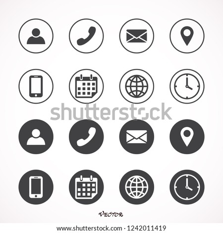Poster design contact white icon set