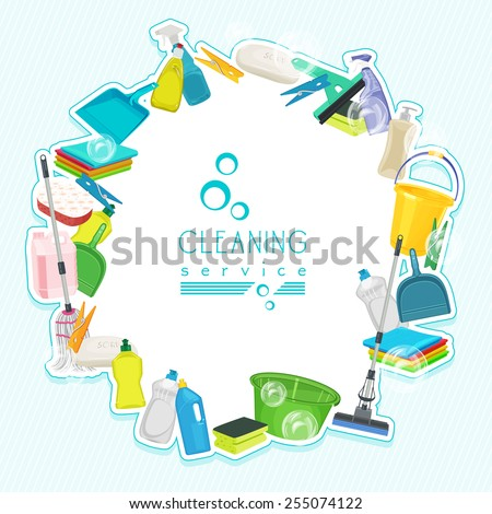 Poster design for cleaning service and cleaning supplies Cleaning kit icons