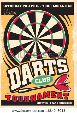 Poster design for darts tournament event with dartboard and arrow. Retro leisure flyer advertisement. Promo vector design competition layout. Stockfoto ©