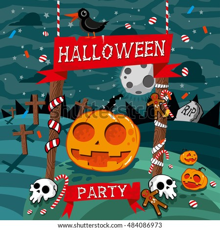 """Poster design template for """"Halloween party"""". Vector illustration with pumpkin and skulls. - Shutterstock ID 484086973"""