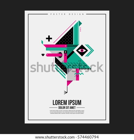 Poster design template with abstract geometric creature. Useful for advertising.