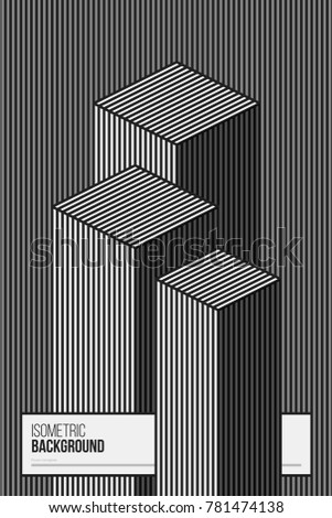 Poster design template with isometric elements in black and white style. Abstract vector background