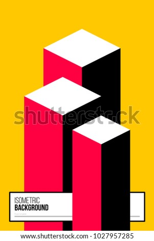 Poster design template with isometric elements in colorful retro minimalism style. Abstract vector background