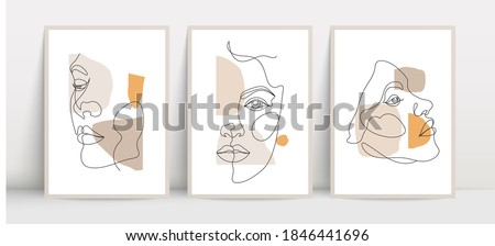 Poster design with continuous line woman face drawing. Vector backgound design.