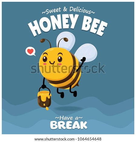 Poster design with vector honey bee character.