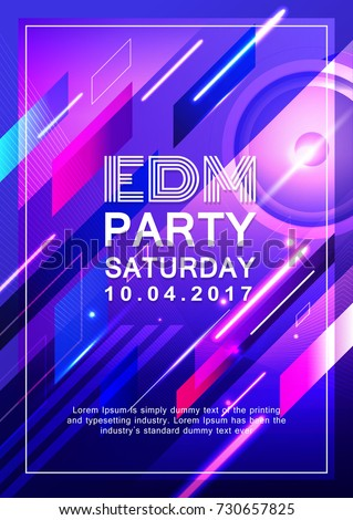 Poster dj party design electronic music vector background