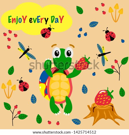 poster enjoy every day with a colorful turtle - vector illustration, eps #1425714512