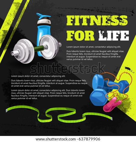 Poster fitness for life in the grunge style