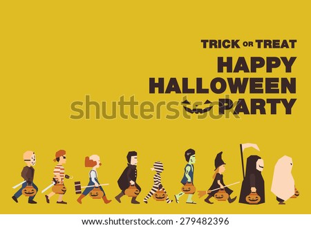 Poster, Flat banner or background for Halloween Party Night.Jason, Pirate, Clown, Dracula, Mummy, Frankenstein, Witch, Messenger of death, Spooky design