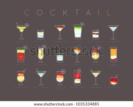 Poster flat cocktails menu with glass, recipes and names of drinks drawing horisontal on brown background