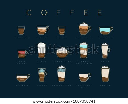 Poster flat coffee menu with cups, recipes and names drawing horisontal on dark blue background
